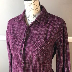Merona Dark purple plaid button down shirt